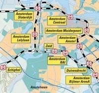 Carte des stations de train à Amsterdam et aux alentours