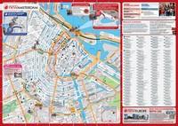 Grande carte avec les auberges de jeunesse et les hotels d'Amsterdam.