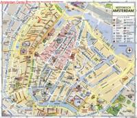 Carte touristique du coeur d'Amsterdam avec les musées, les théatres, les biliothèques
