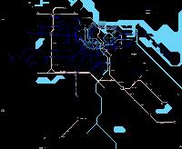 Grande carte d'Amsterdam avec les lignes de métro, de tram et de train