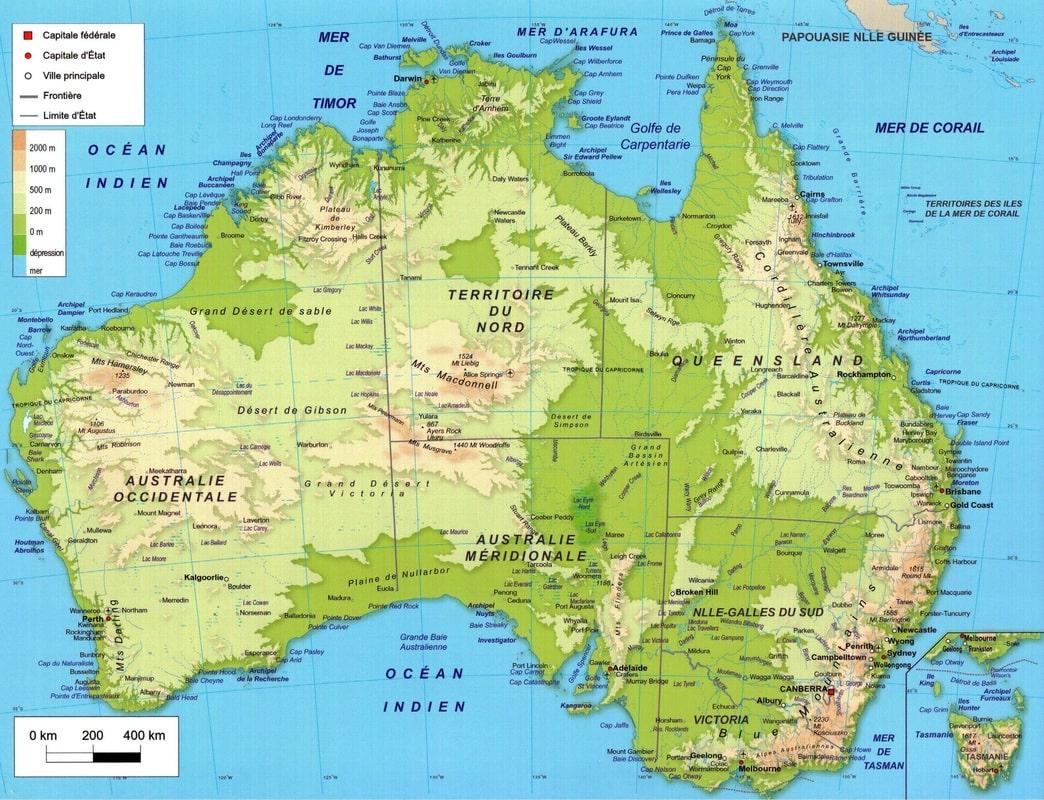 Carte Australie Montagnes.Cartograf Fr L Australie