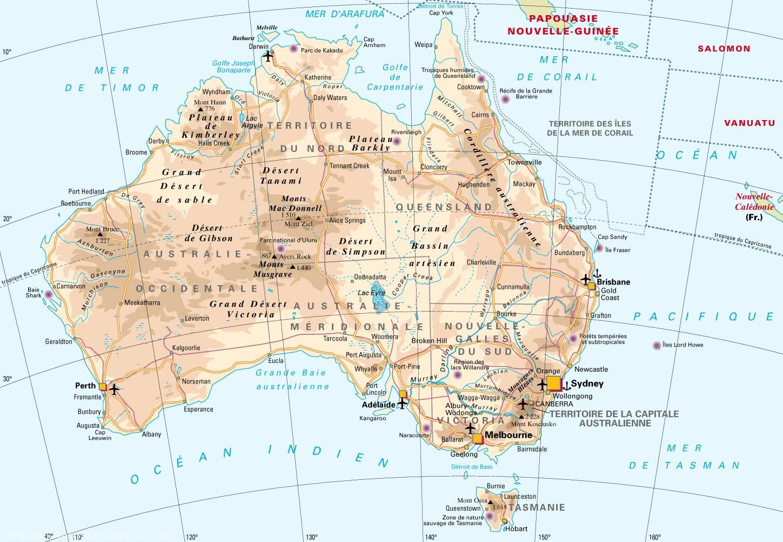 Carte Australie Principales Villes.Cartograf Fr L Australie
