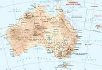 Carte de l'Australie avec les villes, les aéroports, les ports et le relief