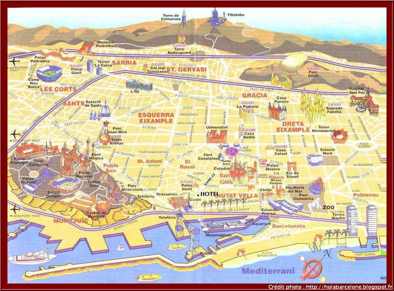 Carte De Barcelone Avec Les Monuments Historiques Importants
