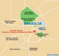Carte de Brasilia simple avec le parc national et l'aéroport