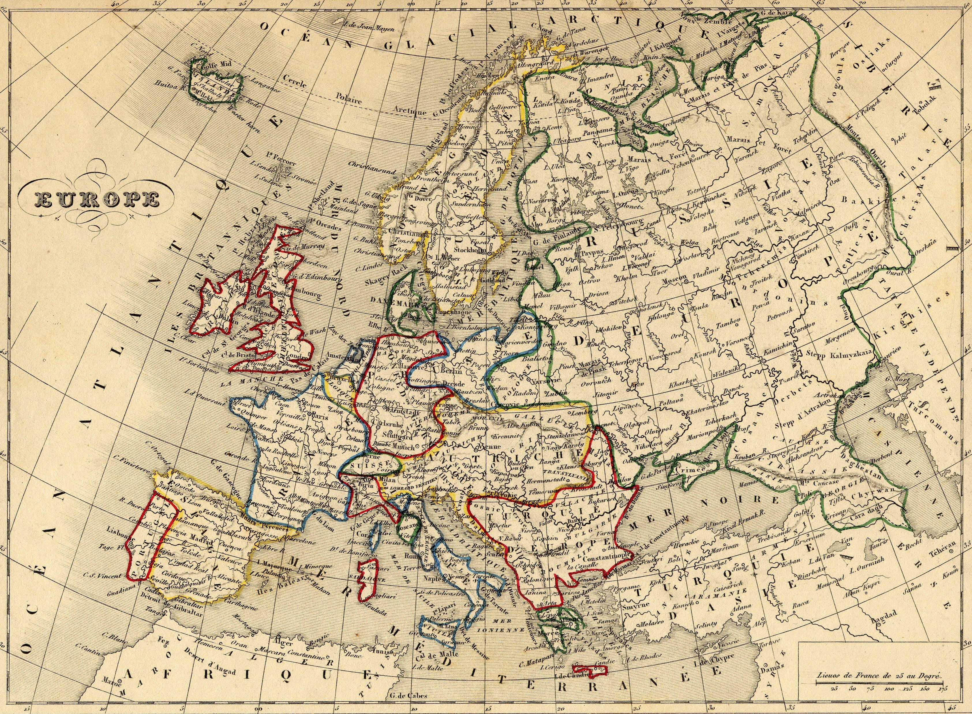 carte europe 1800