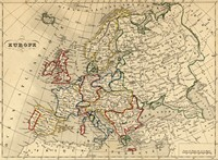 Carte de géographie de l'Europe dans les années 1843