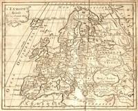 Carte géographique de l'Europe dans les années 1763