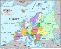 Carte des pays de l'Europe et des pays avoisinants