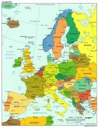 Carte de l'Europe, des villes et des principautés