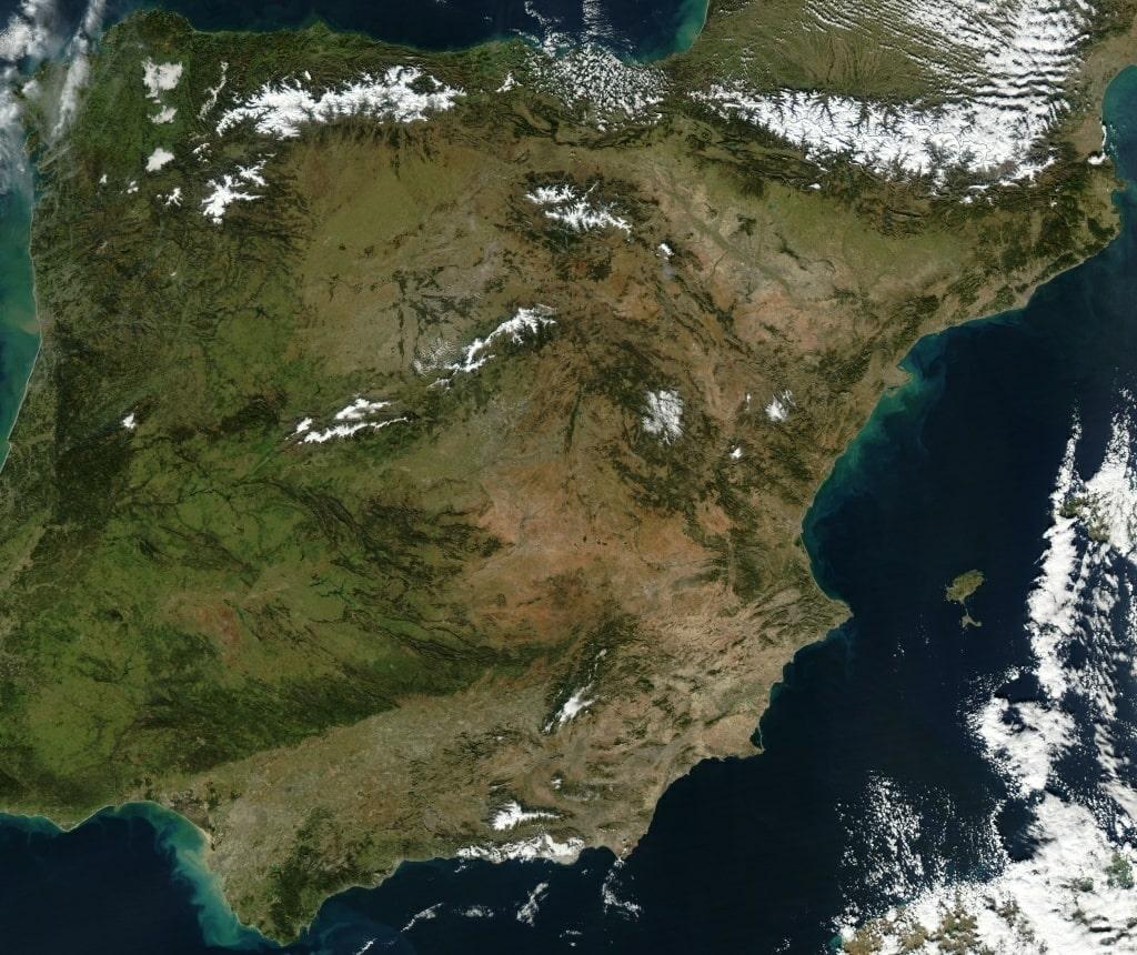 carte espagne satellite