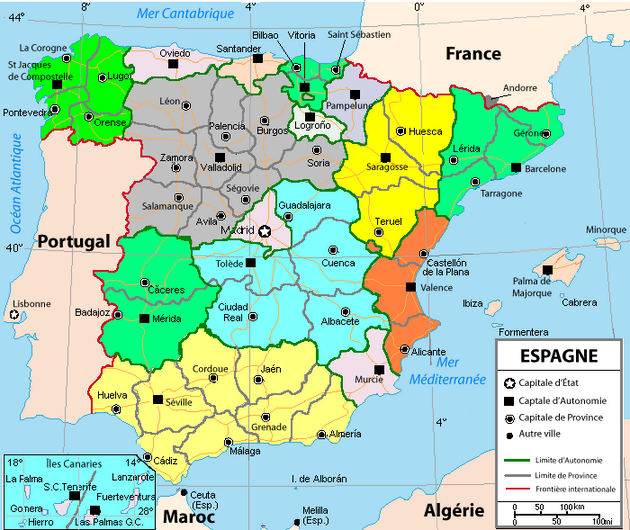 carte espagne portugal