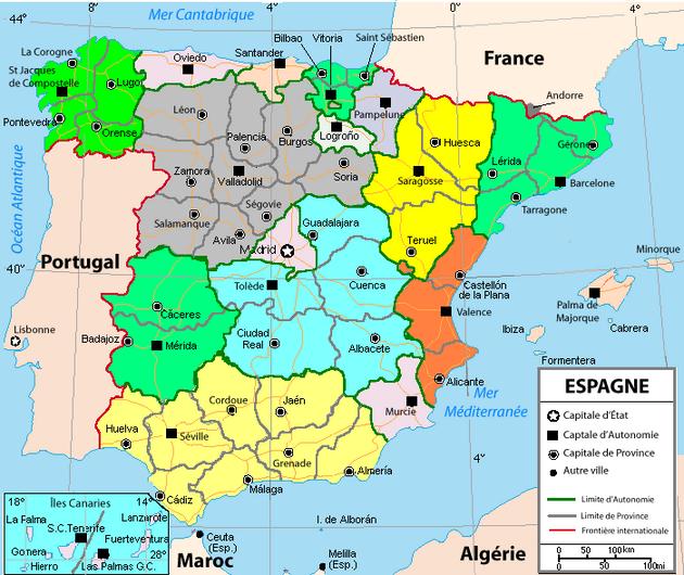 carte espagne portugal sud