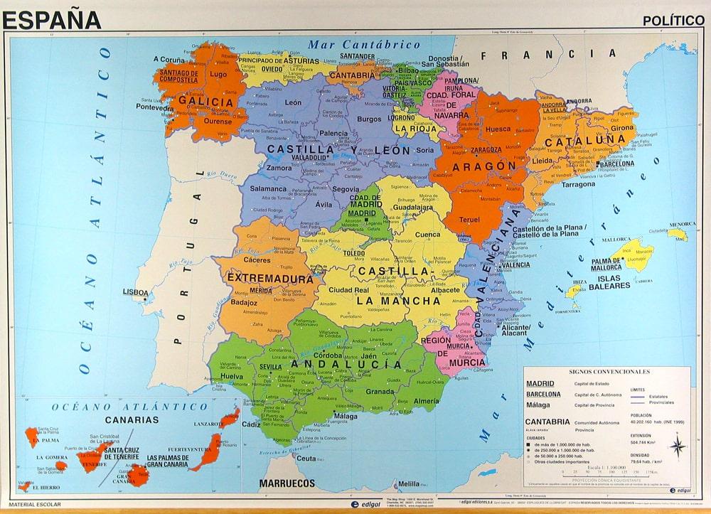 espagne carte en espagnol - Photo