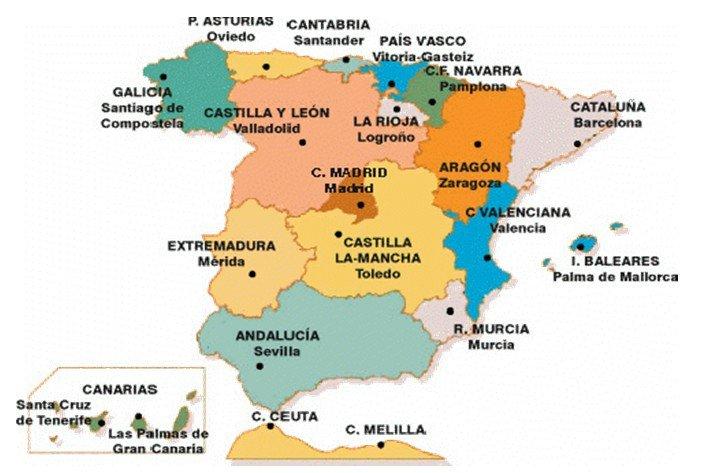 carte espagne nom des regions