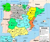 Carte de l'Espagne avec les communautés autonomes en couleur et les capitales de chaque province