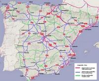 Carte d'Espagne avec les autoroutes payantes, les autoroutes gratuites et les routes nationales