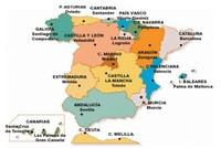 Carte de l'Espagne avec les régions en couleur et le nom des capitales de chaque région