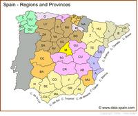 Carte de l'Espagne avec les régions et les provinces en couleur