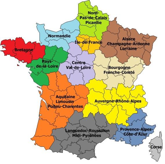 carte de france avec les nouvelles regions
