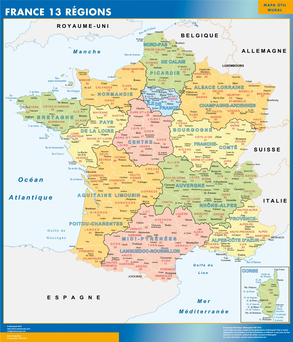 carte-de-france-villes-principales-et-regions - Photo