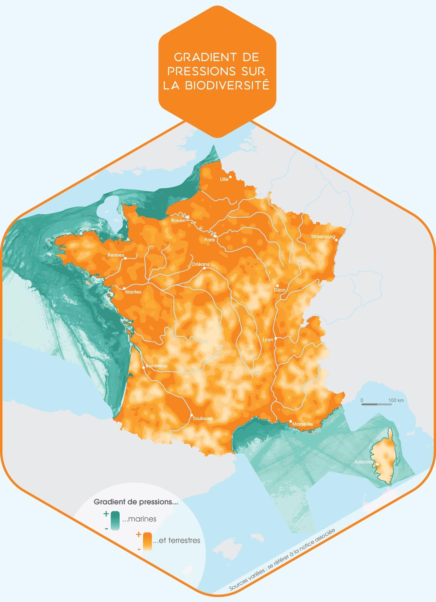 carte de la France et la menace pour la biodiverite