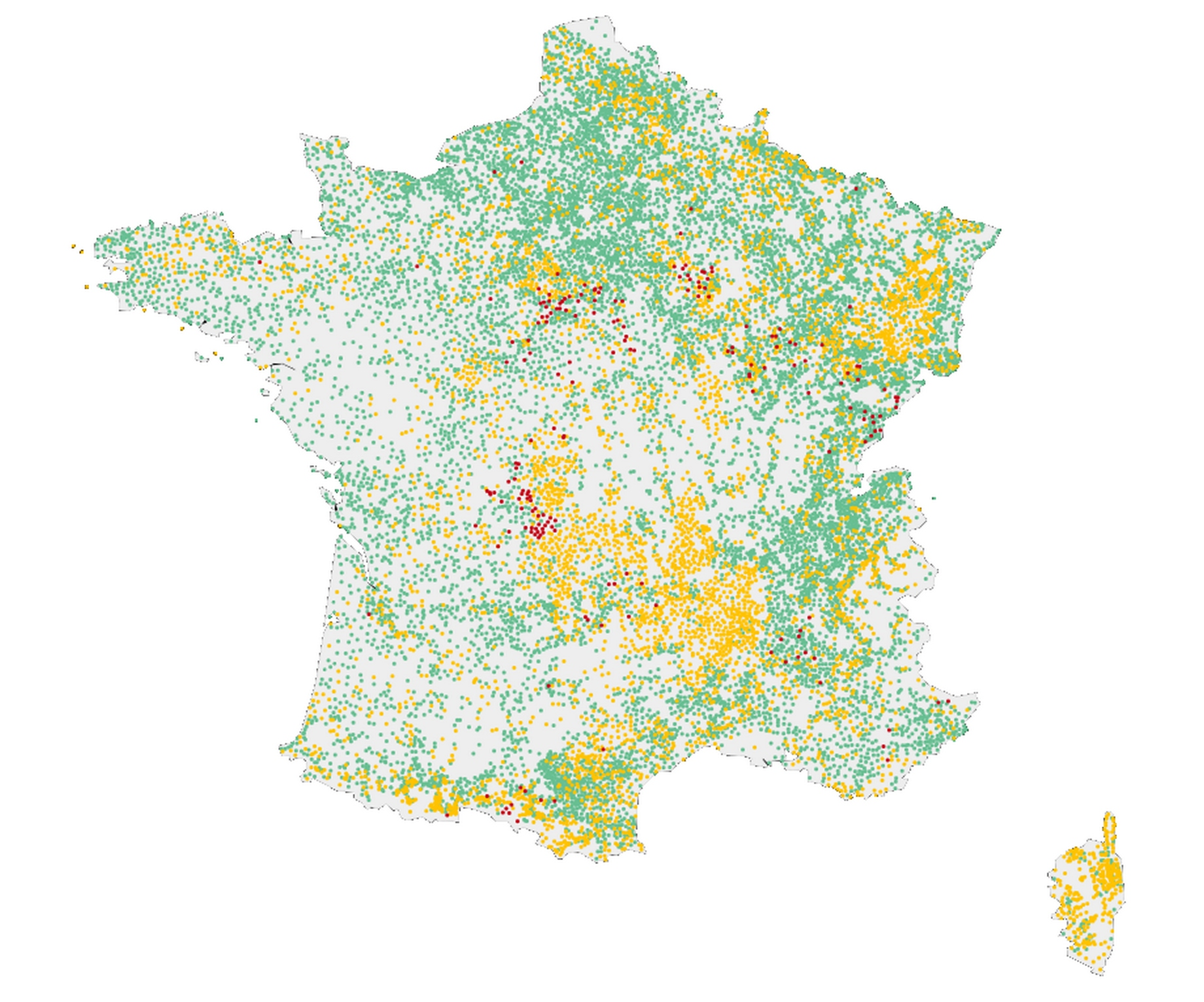 carte de la France avec la qualité de l'eau potable, en vert conforme, et en rouge la consommation est interdite