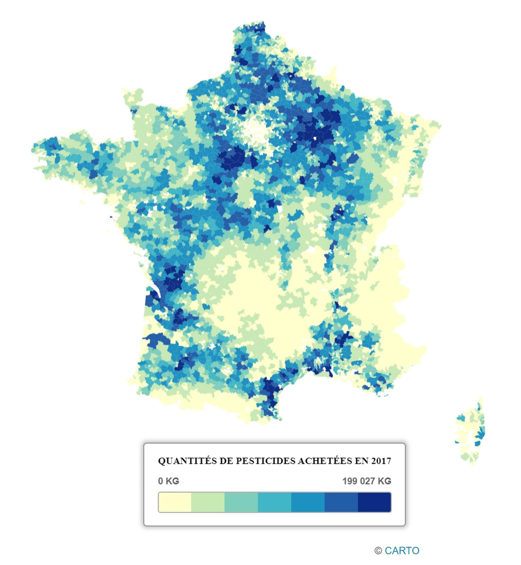 carte de la France avec la quantité de pesticides par commune