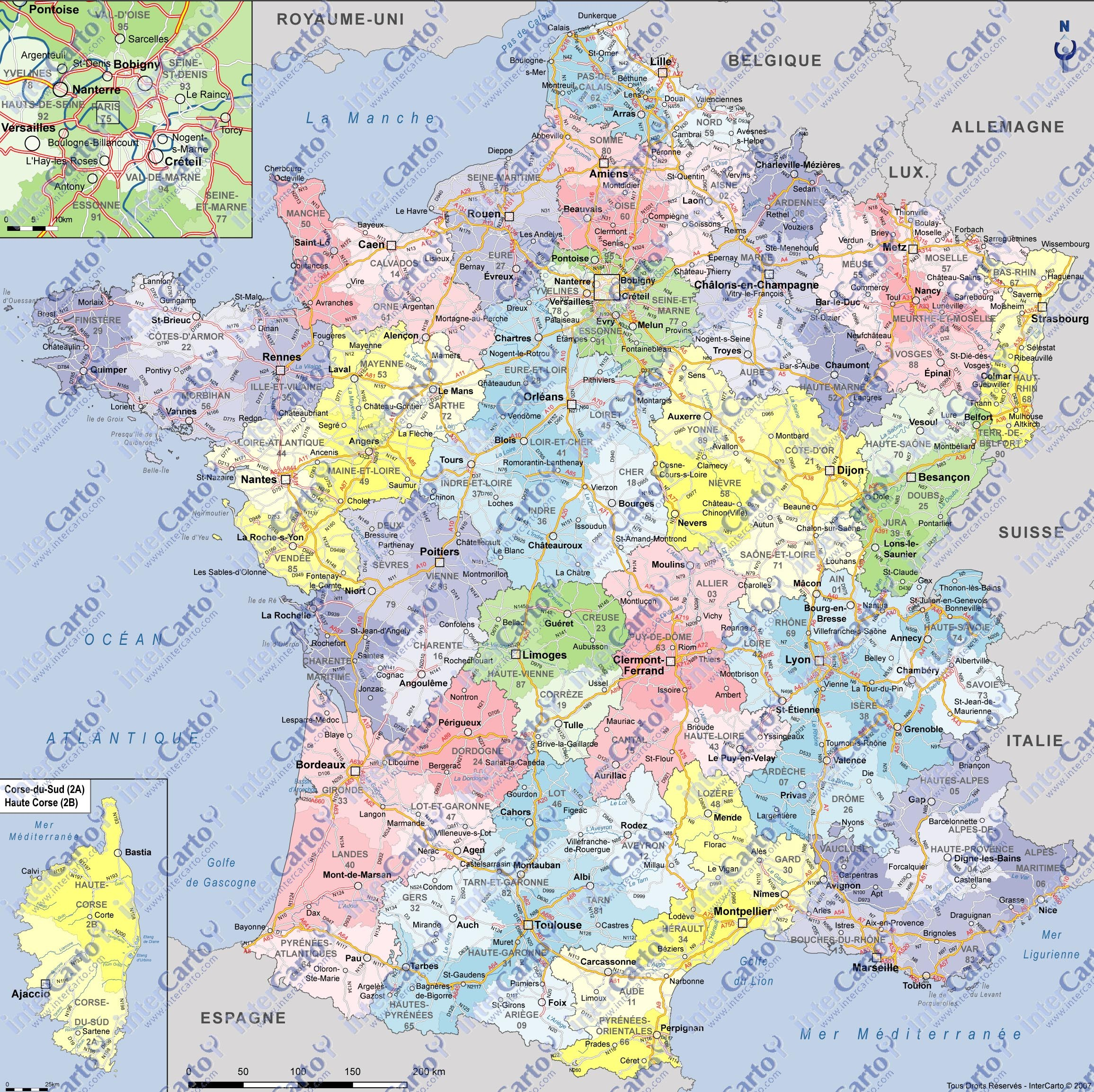 carte de france region et ville