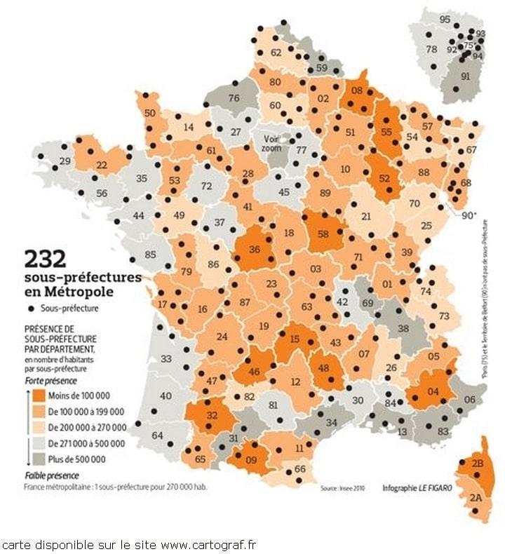 Cartograf.fr : Carte de la France avec les sous-préfectures