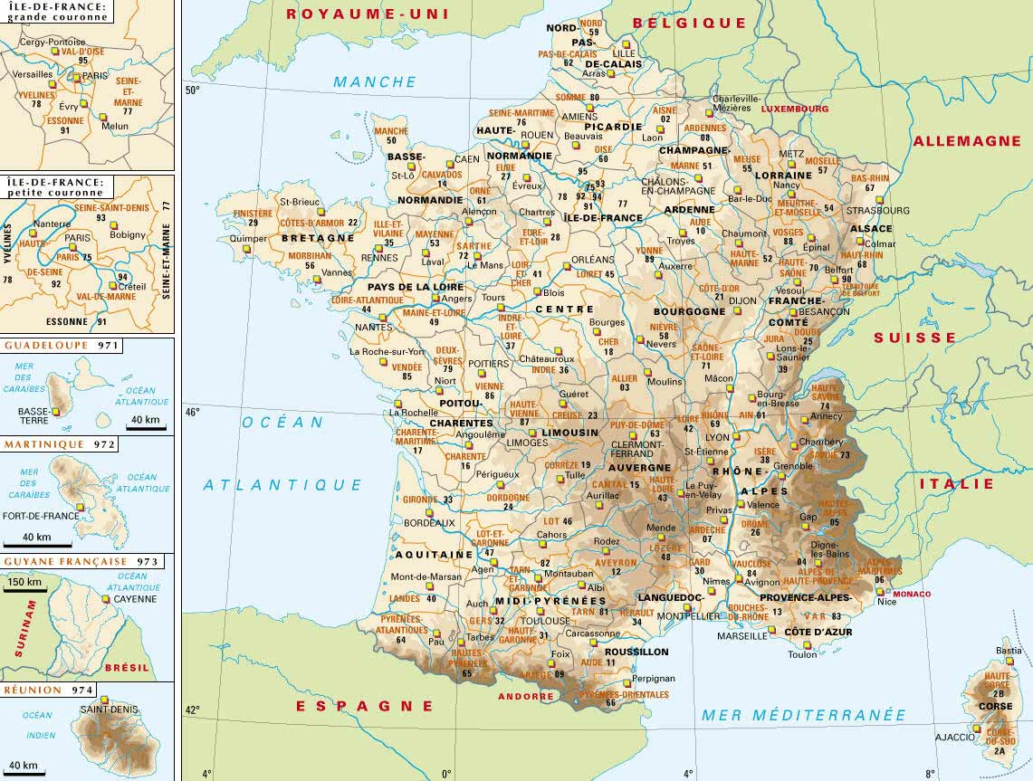 Carte De France Detaillee Voyages Cartes