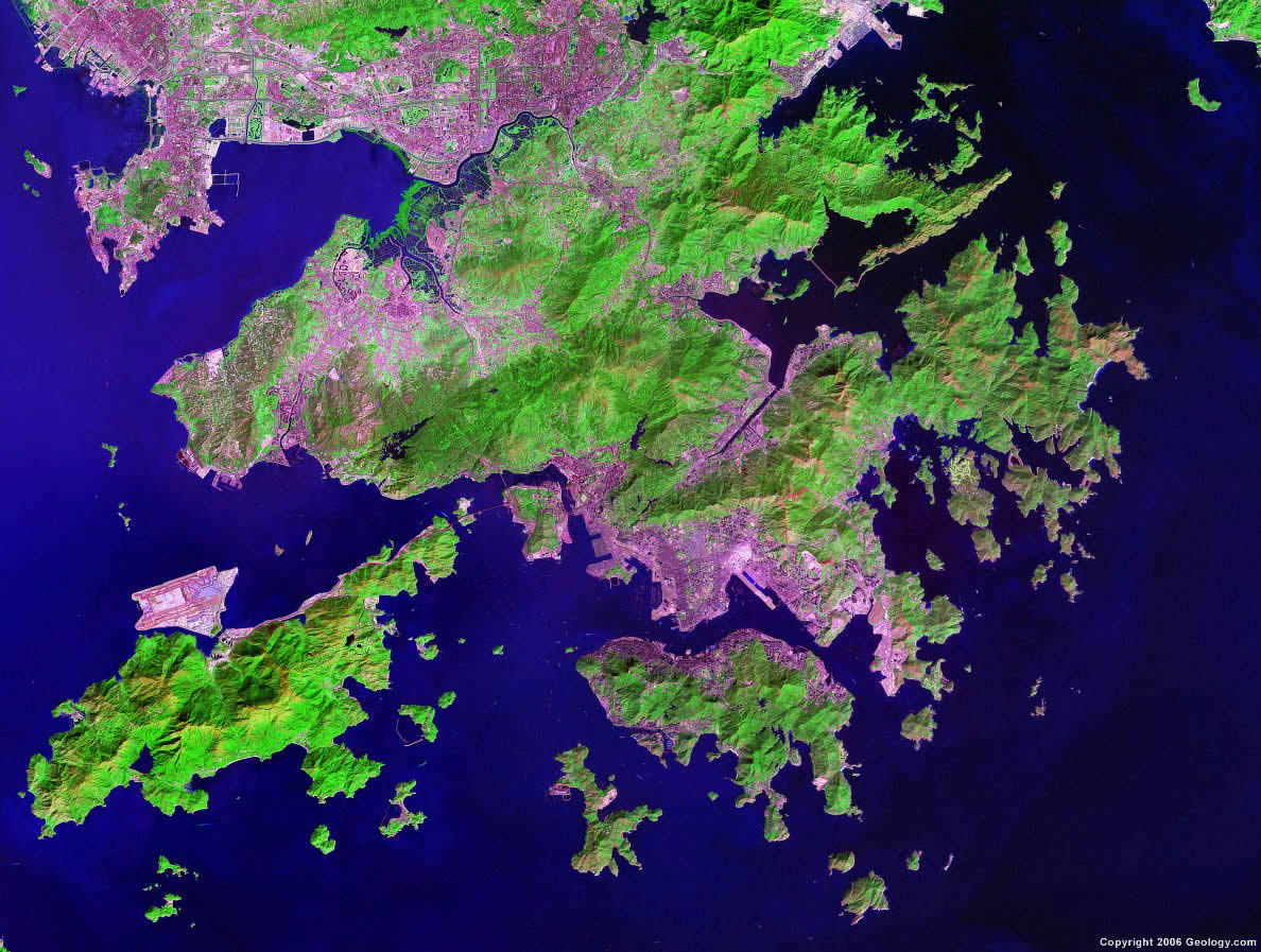 Photo satellite de Hong Kong.