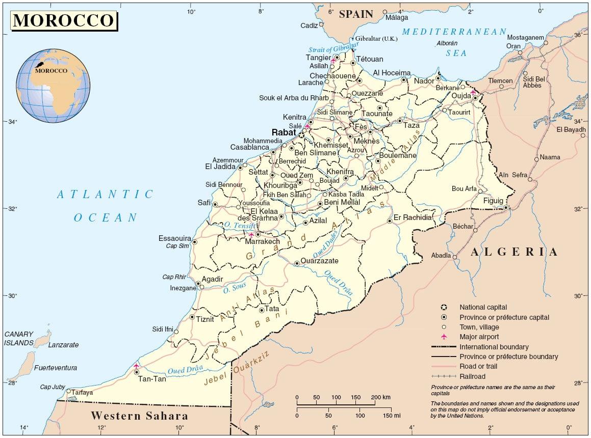 Carte du Maroc informations