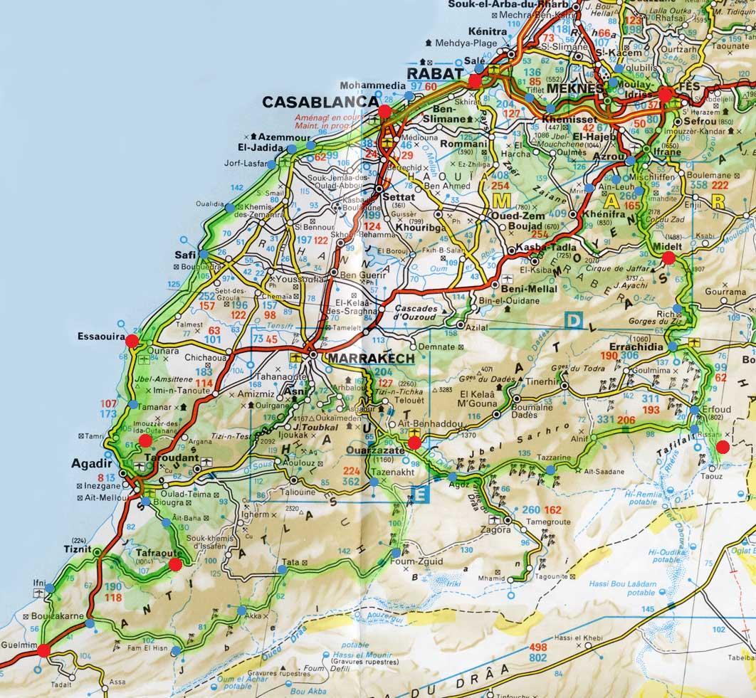carte routiere maroc