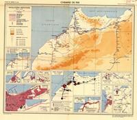 Ancienne carte du système ferroviaire au Maroc (trains, gare)