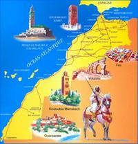 Carte décorative du Maroc.