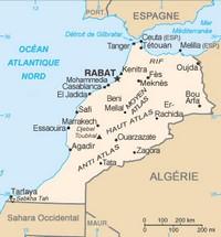 Carte du Maroc avec l'échelle en km et en miles.