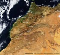 Carte satellite du Maroc avec les villes