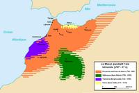 Carte du Maroc pendant l'ère Idrisside du VIIIème au Xème siècle