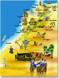Carte décorative du Maroc