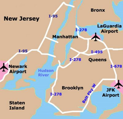 Carte des aéroports de New York City