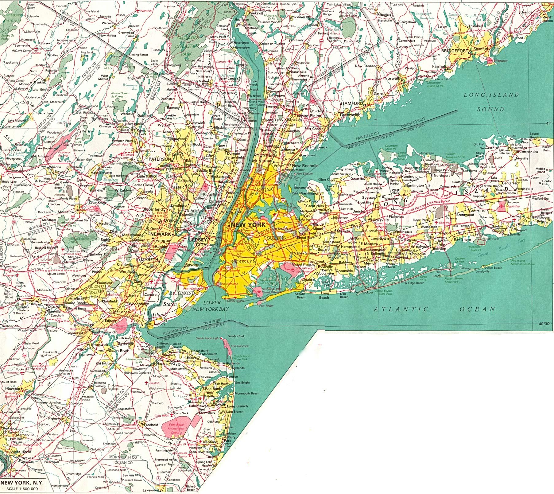 Carte New York Et Alentours.Cartograf Fr New York City