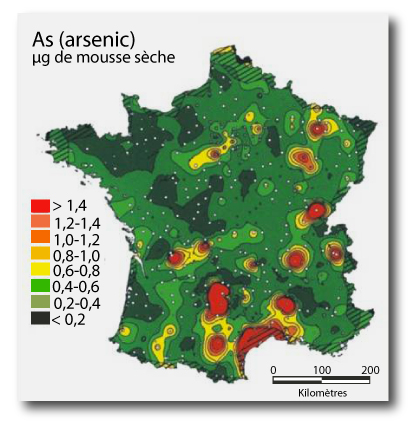 Carte de la pollution des mousses sèche à l'arsenic en France