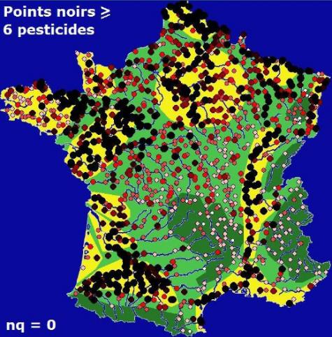 Carte de la pollution des cours d'eau par les pesticides