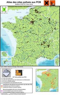 Carte de la pollution au PCB en France en 2011
