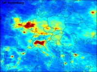 Carte du dioxyde d'azote NO2 dans l'air en Europe
