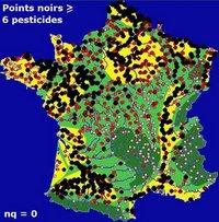 Carte de la pollution des cours d'eau par les pesticides