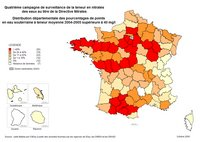 Carte de la pollution en nitrate des eaux en France
