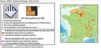 Carte des zones de pêche polluées par le PCB en France