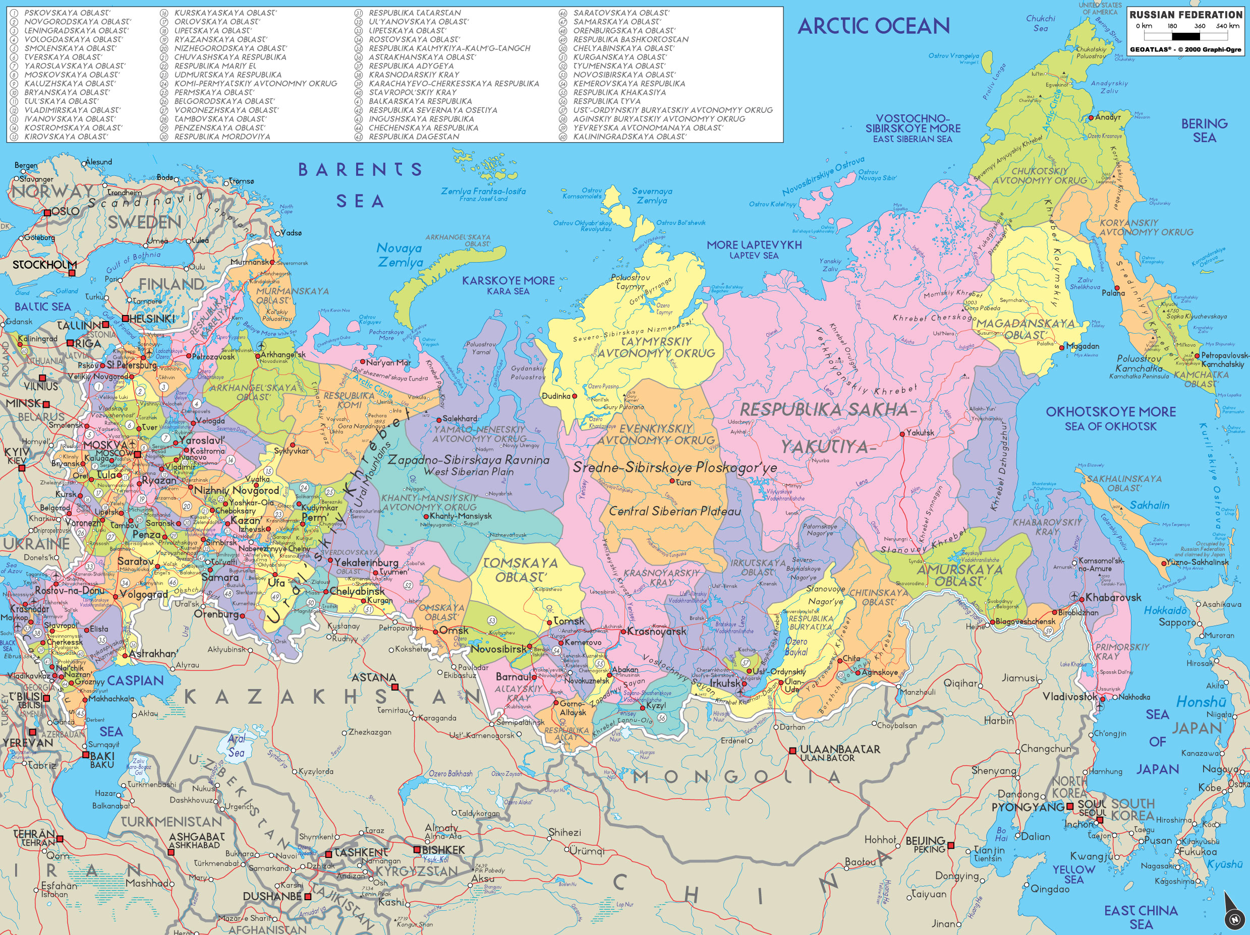 Carte de la russie avec les villes et les aéroports en russe